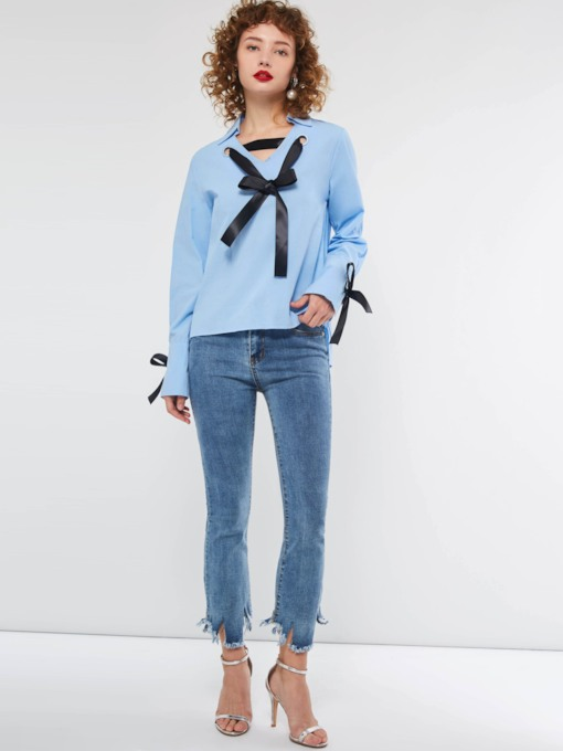 Plain Pullover Bowknot Shirt and Jeans Women's Two Piece Sets