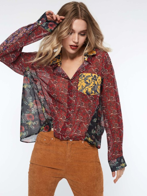 Print Lapel Color Block Standard Women's Blouse
