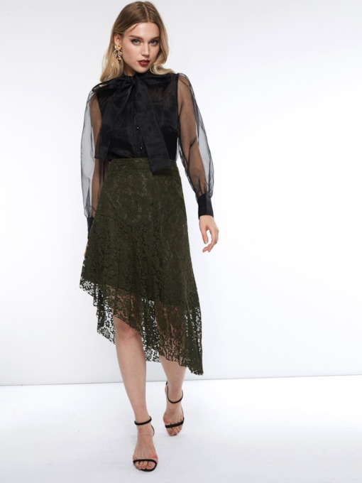 High-Waist Lace Asymmetrical Mid-Calf Women's Skirt