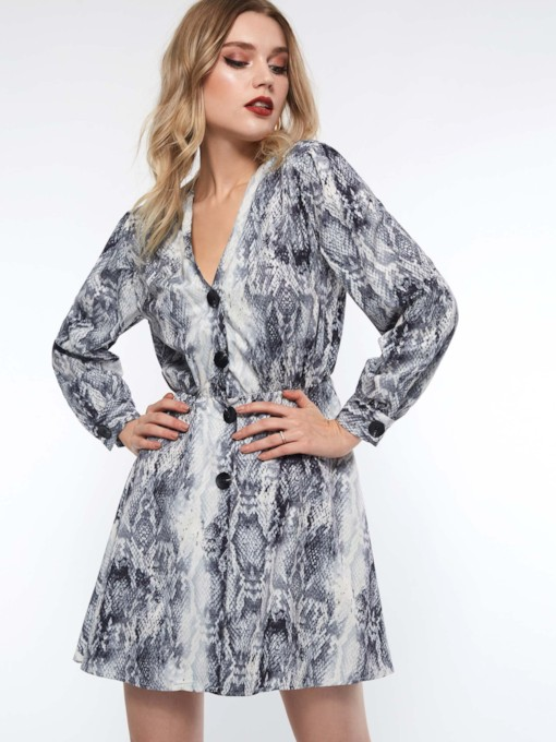 Serpentine Print Single-Breasted Women's Long Sleeve Dress