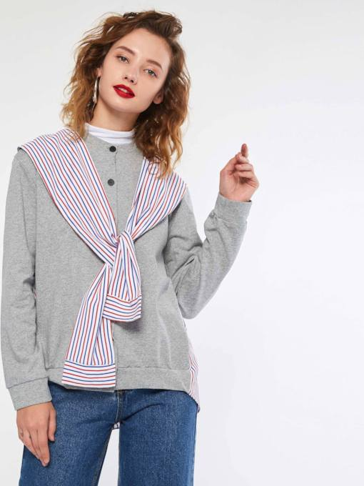 Stripe Patchwork Standard Women's Sweatshirt