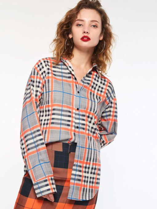 Plaid Lapel Long Sleeve Women's Blouse