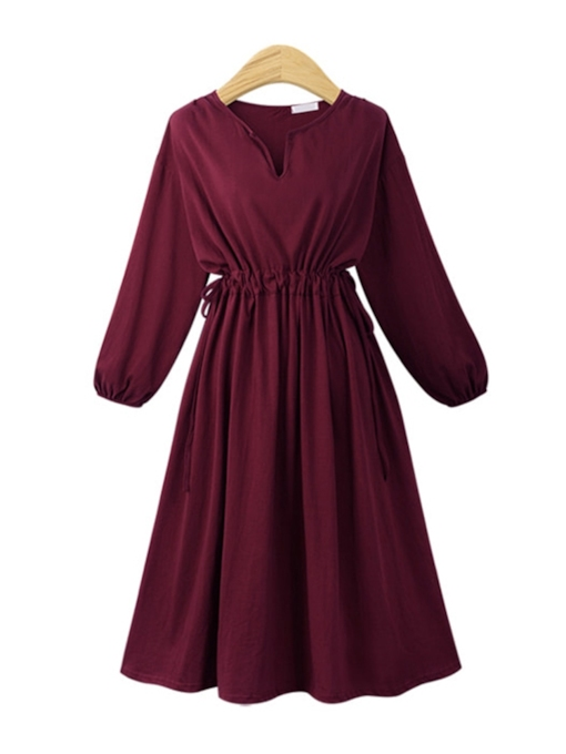 Lace-Up Plain Women's Long Sleeve Dress