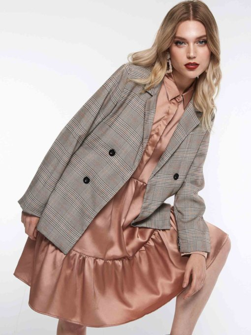 Notched Lapel Long Sleeve Spring Women's Blazer
