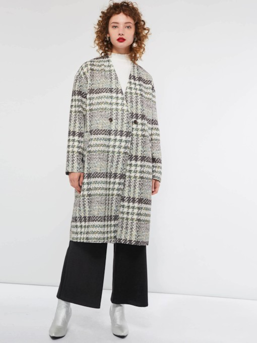 Color Block Houndstooth Women's Overcoat