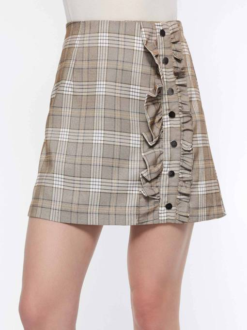 Gingham Print A-Line High-Waist Women's Mini Skirt