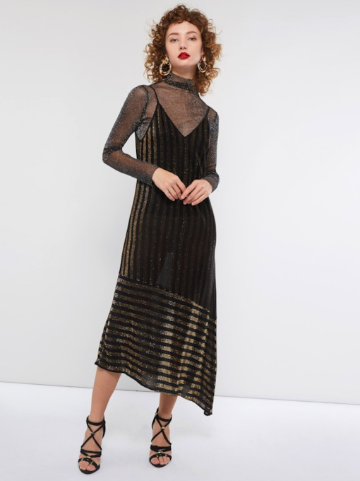 Spaghetti Strap Stripe Asymmetric Women's Maxi Dress