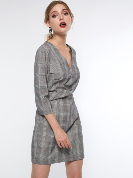 V-Neck Plaid 3/4 Length Sleeves Women's Sheath Dress