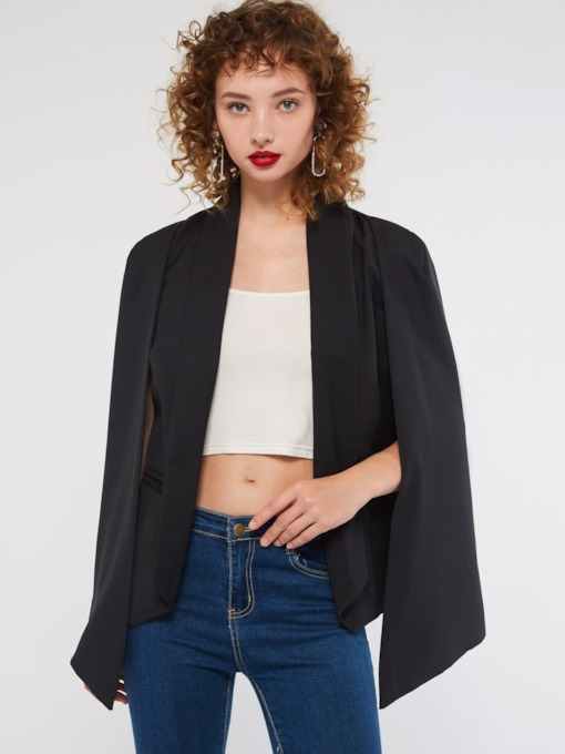 Plain Shawl Collar Wrapped Women's Blazer