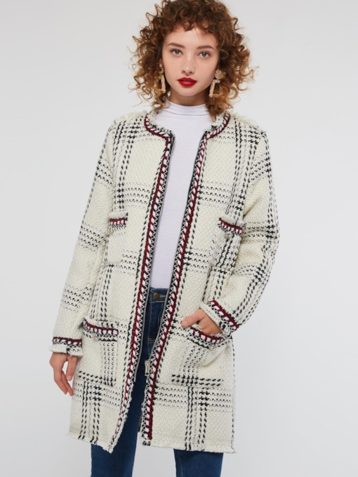 Scoop Neck Plaid Zipper Mid-Length Women's Overcoat