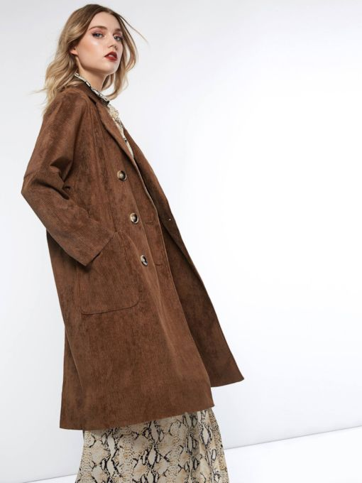 Straight Button Double-Breasted Camel Coat Women's Overcoat