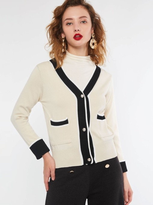 V-Neck Single-Breasted Color Block Women's Cardigan