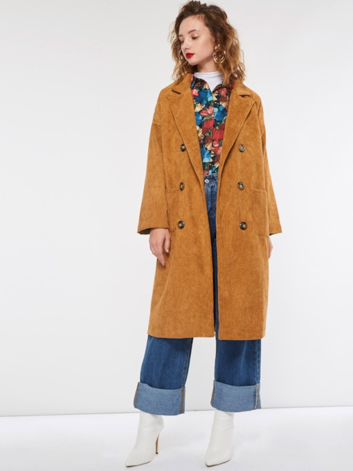 Notched Lapel Double-Breasted Dual Pockets Women's Overcoat