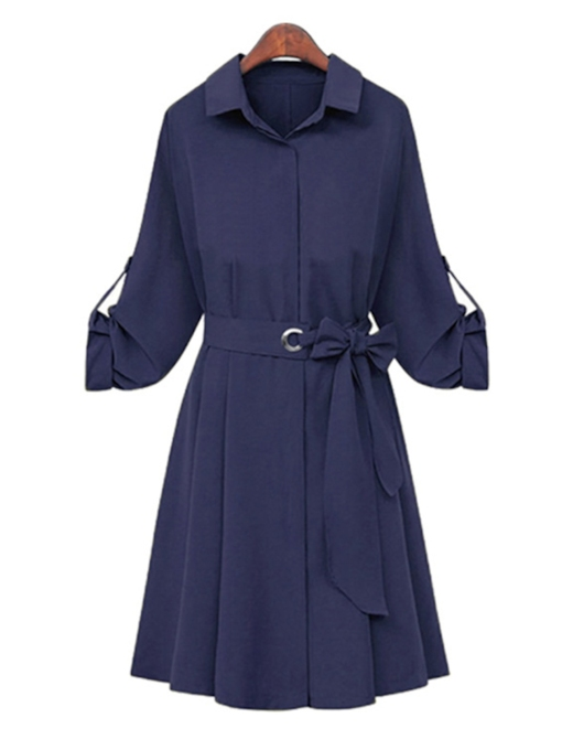 Lapel Bowknot Plain Women's Long Sleeve Dress