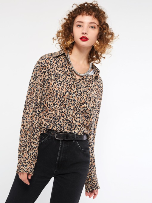 Leopard Loose Single-Breasted Women's Blouse