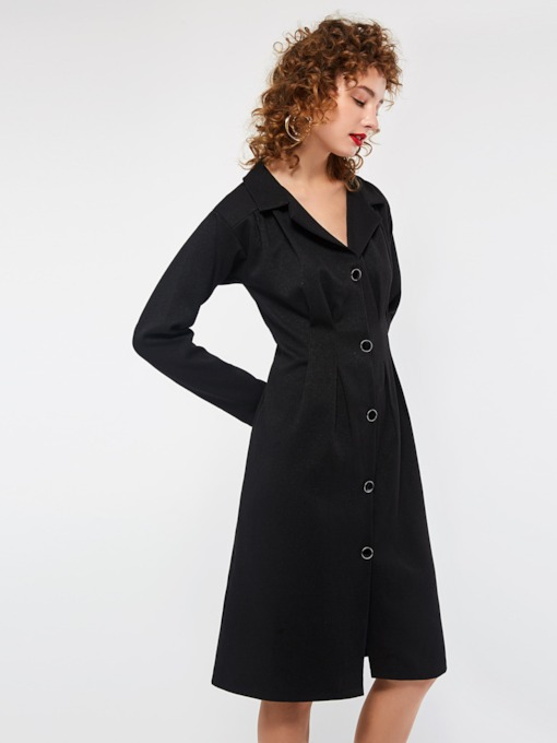 Button Single-Breasted Lapel Women's Long Sleeve Dress