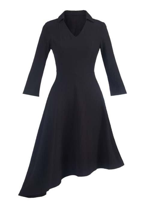 Asymmetric V-Neck A-Line Women's Long Sleeve Dress