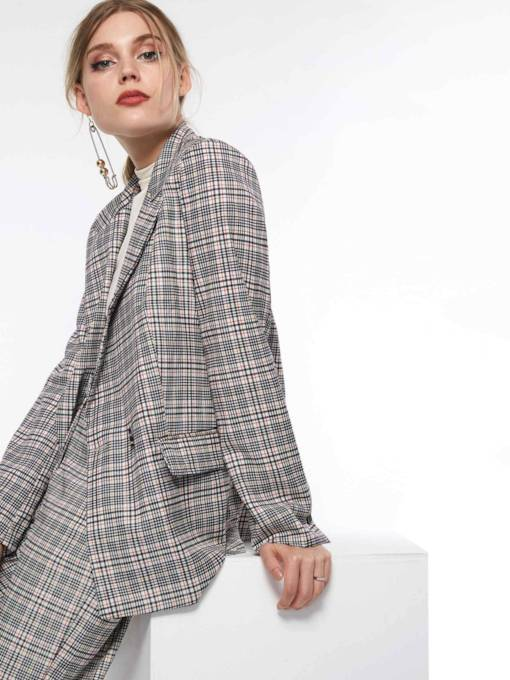 Double-Breasted Notched Lapel Long Sleeve Plaid Women's Blazer