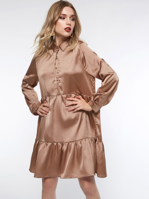 Button Single-Breasted A-Line Women's Long Sleeve Dress