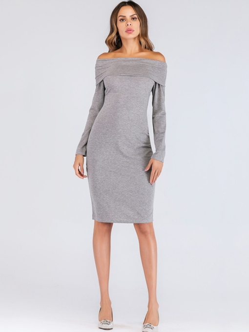 Off Shoulder Long Sleeve Stretchy Women's Sweater Dress