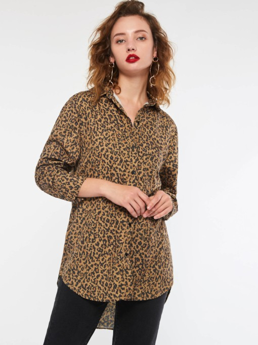 Leopard Lapel Long Sleeve Women's Shirt