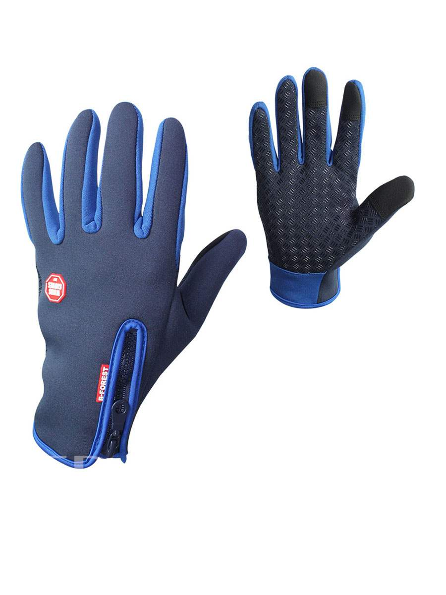 Warm Windproof Velvet PU Gloves