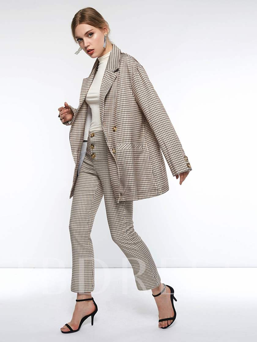 Plaid Long Sleeve Double-Breasted Notched Lapel Women's Blazer