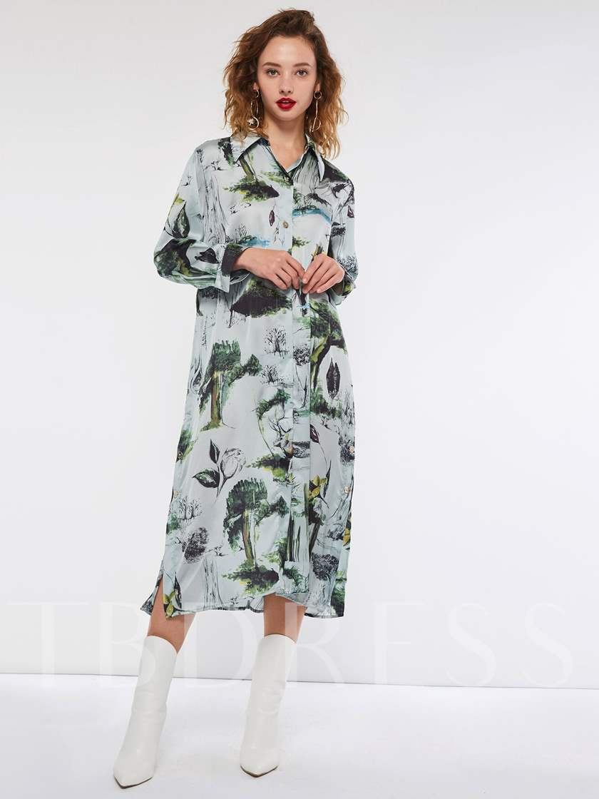 Lapel Button Single-Breasted Floral Women's Long Sleeve Dress