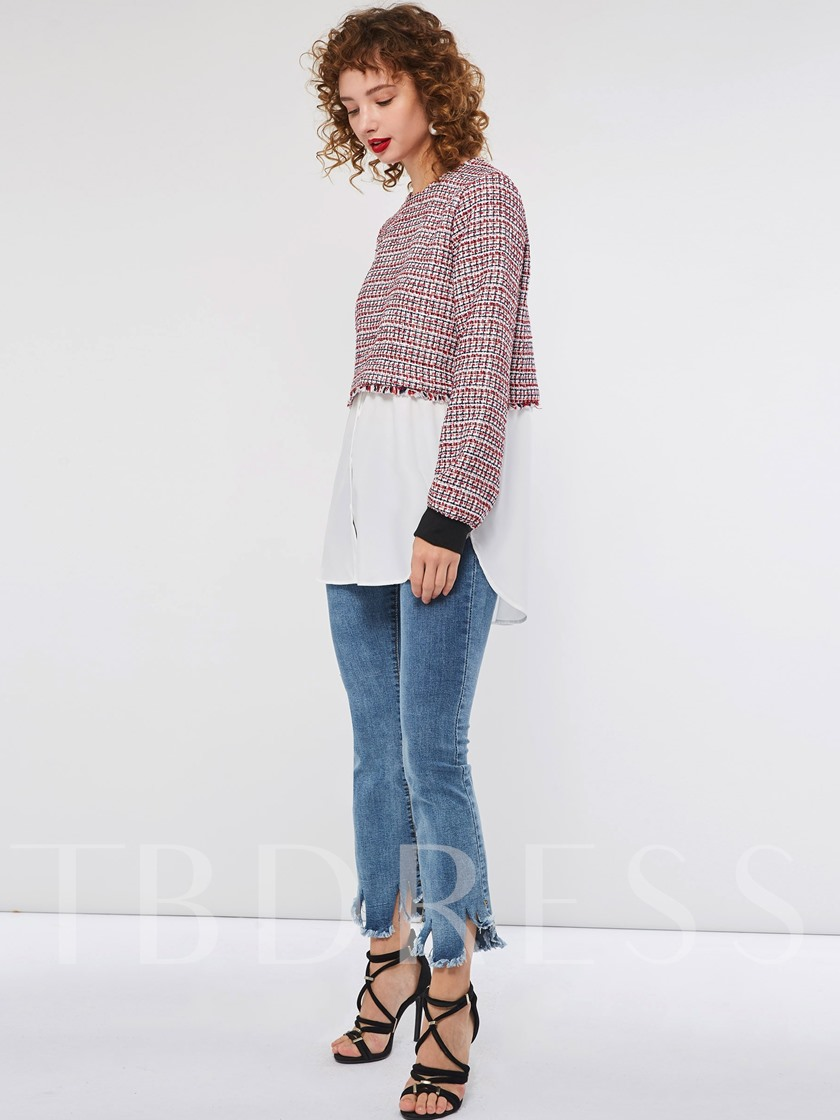 Color Block Patchwork Mid-Length Women's Sweater