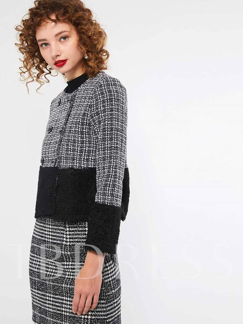 Color Block Double-Breasted Women's Jacket