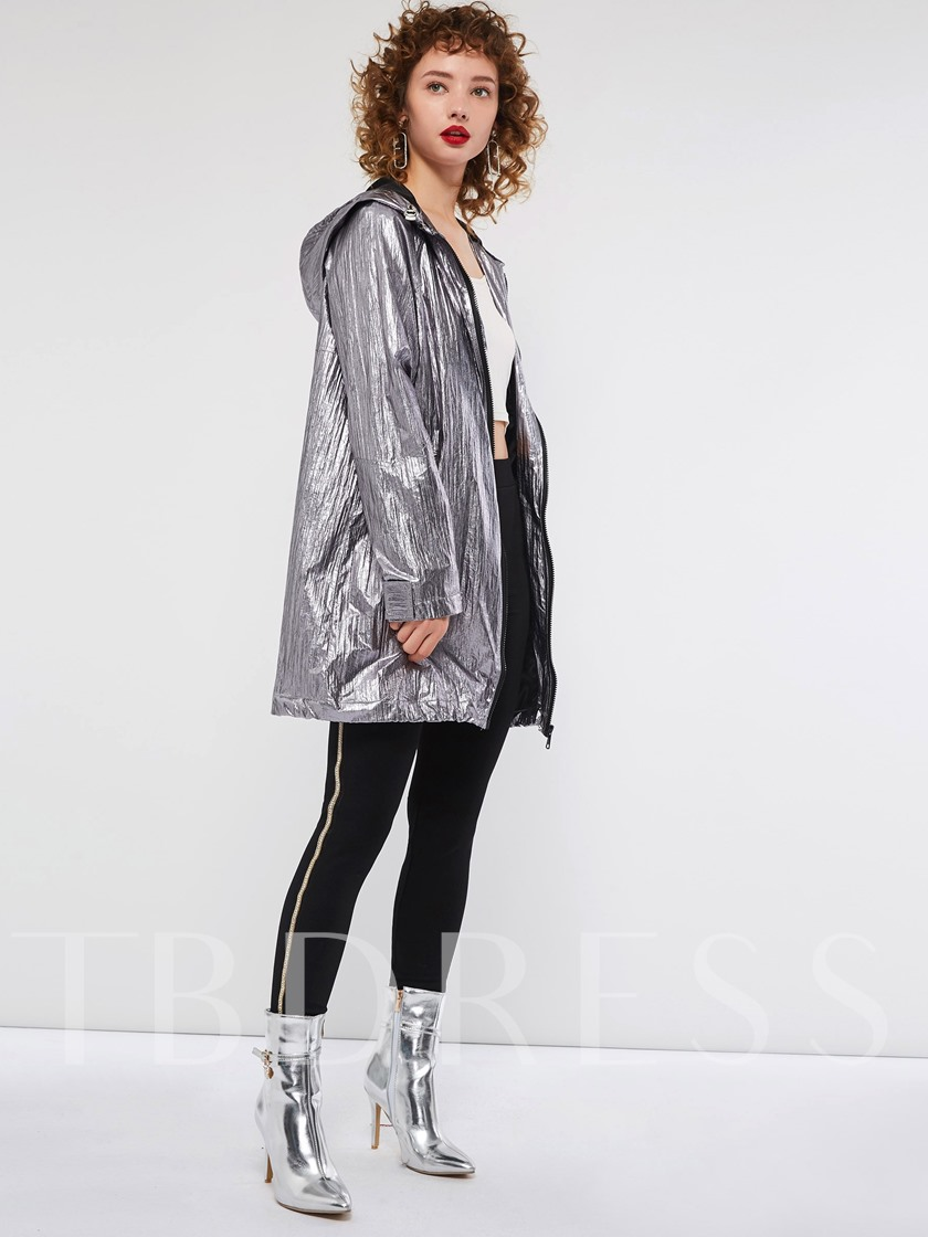 Loose Long Sleeve Hooded Women's Jacket