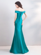 Off-the-Shoulder Embroidery Mermaid Evening Dress