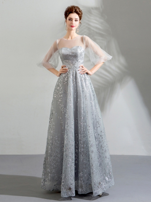 A-Line Lace Half Sleeves Scoop Evening Dress