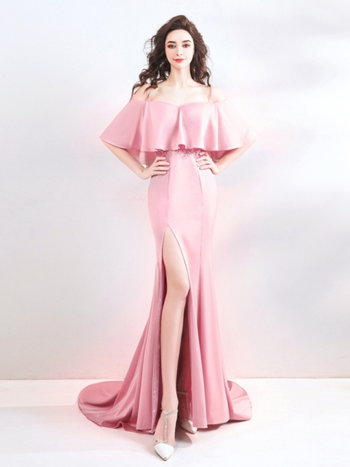 Mermaid Off-the-Shoulder Split-Front Evening Dress