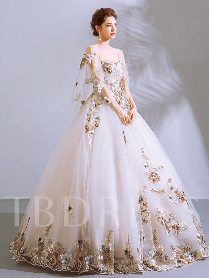 Embroidery Appliques Ball Gown Quinceanera Dress