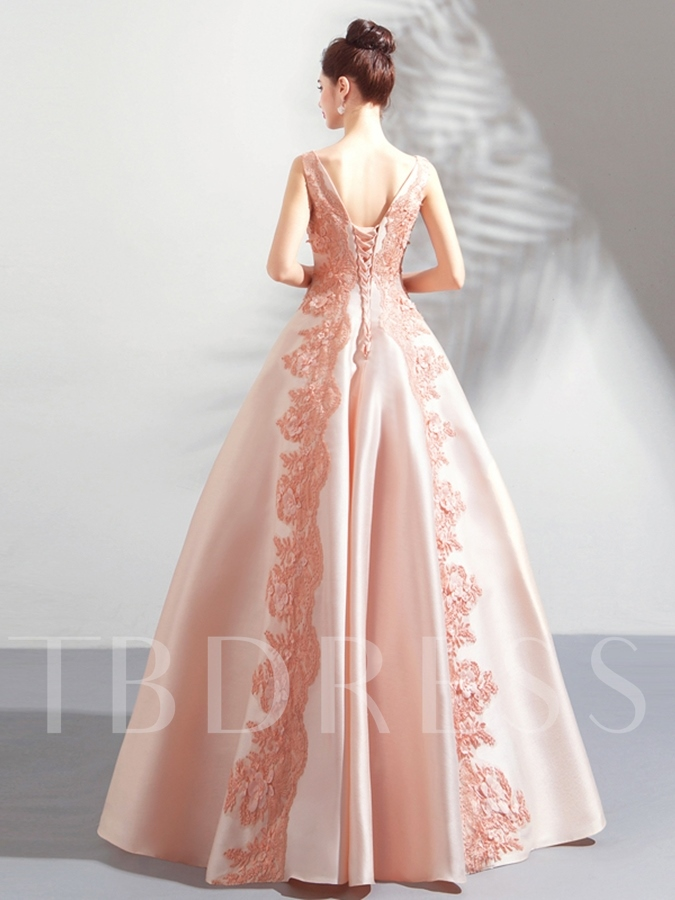 Bateau Lace Sleeveless Quinceanera Dress