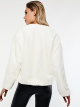 Plain Loose Round Neck Women's Jacket