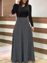 Round Neck Long Sleeve Print Expansion Women's Day Dress