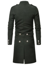 Single-Breasted Plain Button Long Men's Trench Coat