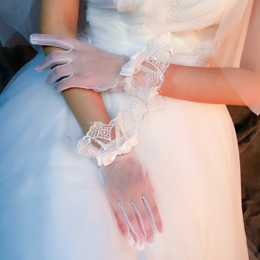 Wrist Bowknot Lace Finger Wedding Gloves 2019