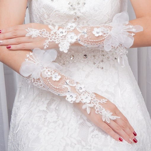 Elbow Appliques Beading Wedding Gloves 2019