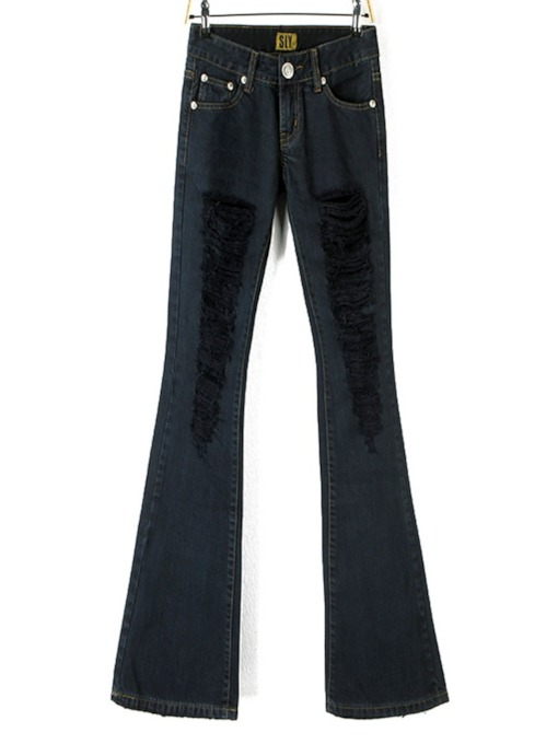 Plain Slim Bellbottoms Women's Jeans