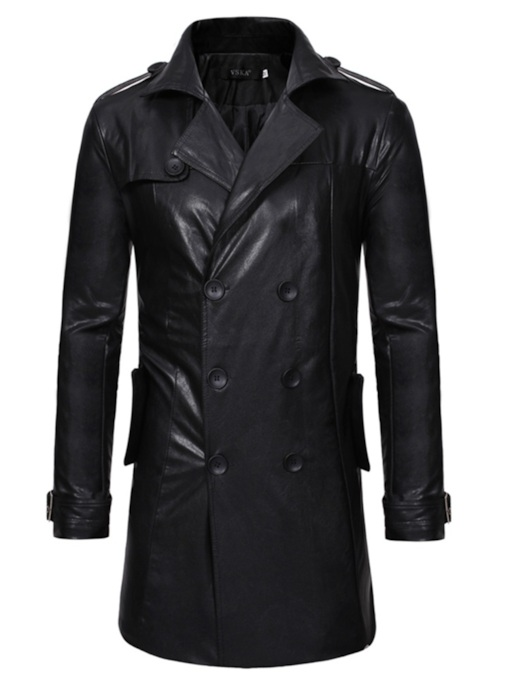 Double-Breasted Lapel Slim Plain Mid-Length Men's Leather Jacket