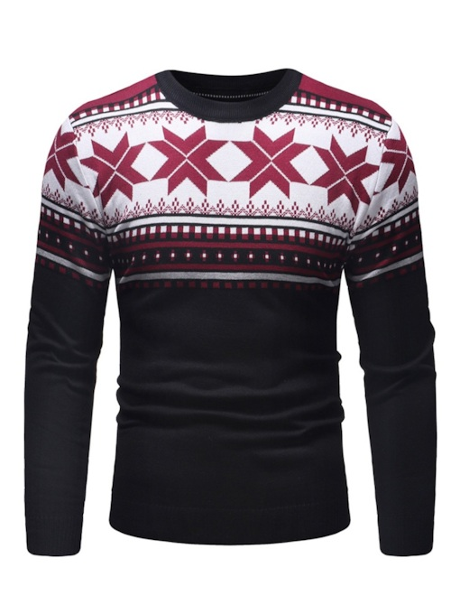 Ugly Christmas Color Block Patchwork Casual Men's Sweater