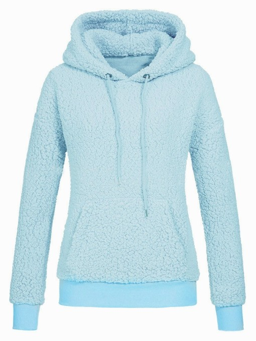 Fluffy Plain Kangaroo Pocket Teddy Women's Hoodie