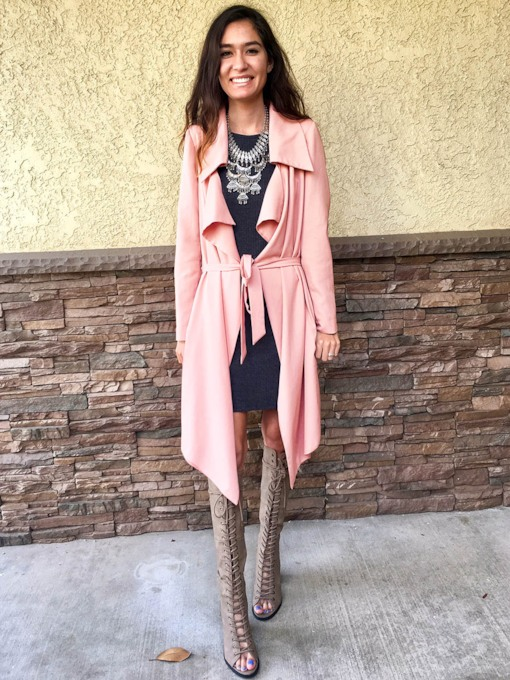 Wide-Lapel Lace-Up Long Sleeve Women's Trench Coat