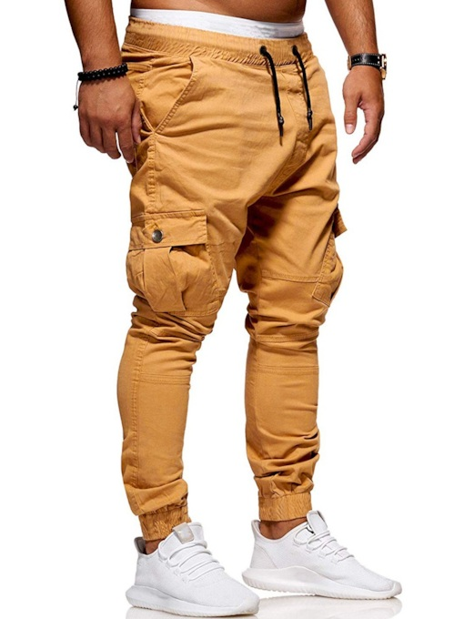 Lace-Up Slim Plain Pockets Men's Casual Pants