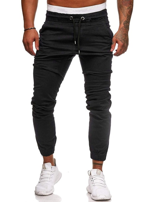 Slim Lace-Up Plain Men's Casual Pants