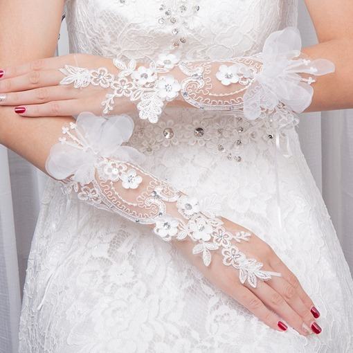 Elbow Appliques Beading Wedding Gloves