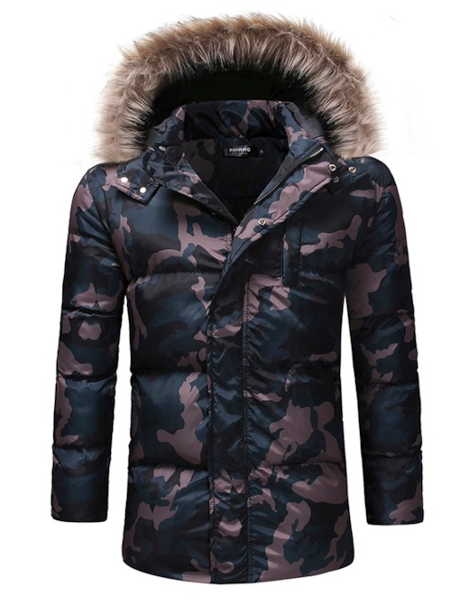 Camouflage Straight Thick Short Hooded Men's Down Jacket